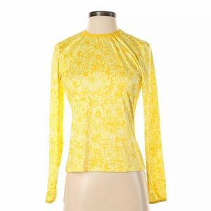 Patagonia Capilene Yellow Floral Long Sleeve Top
